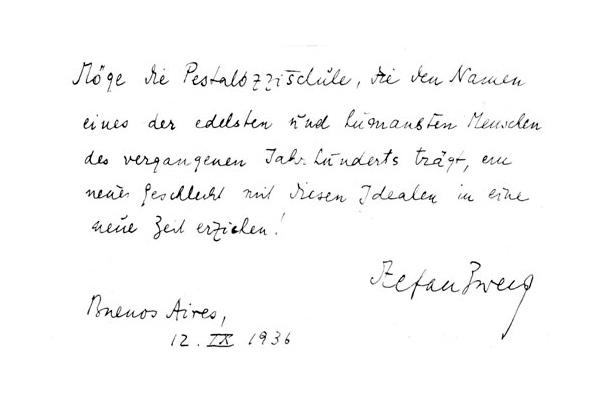 Carta de felicitación de Stefan Zweig