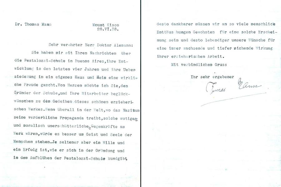 Carta de felicitación de Thomas Mann