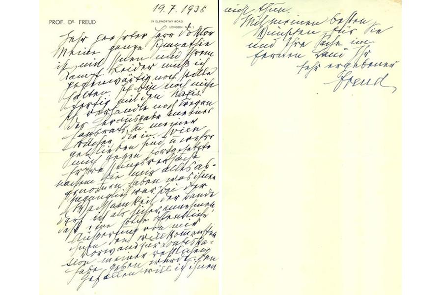 Carta de felicitación de Sigmund Freud