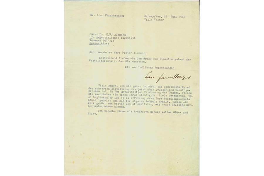 Carta de felicitación de Lion Feuchtwanger