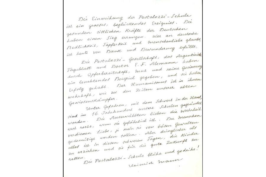 Carta de felicitación de Heinrich Mann